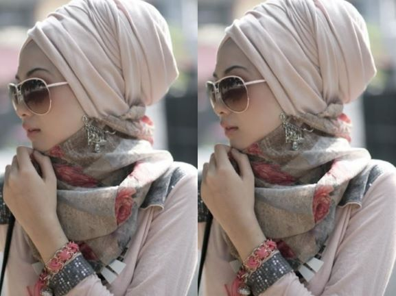 a girl with turban style hijab with neck scarf new hijab styles 2021