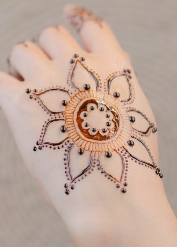 flower on back-hand-side-henna design