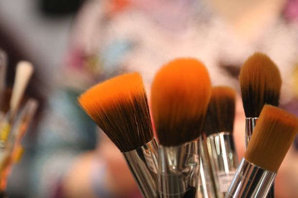 makeup brushes in a holder