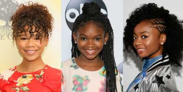 three little black girl with braided hairstyles