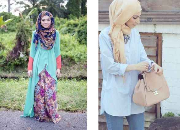 girl with printed Casual Hijab Outfits for Summer