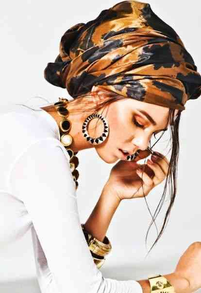 girl with printed  turban hijab and  Accessories