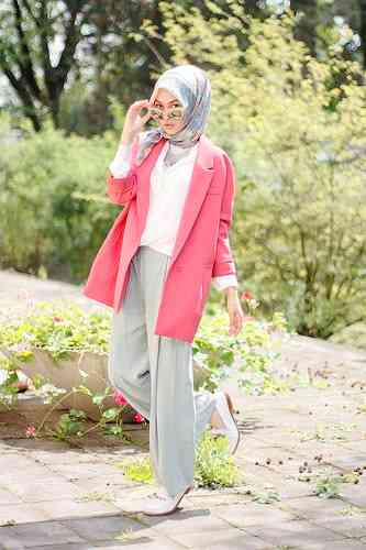 girl with Turkish Style Hijab and pink jacket