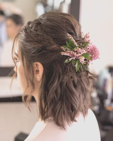 Hair up do with Flowers