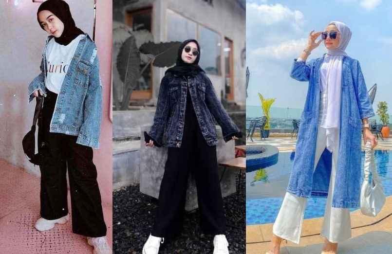 girls with inovative ways to wear ootd jaket jeans hijab