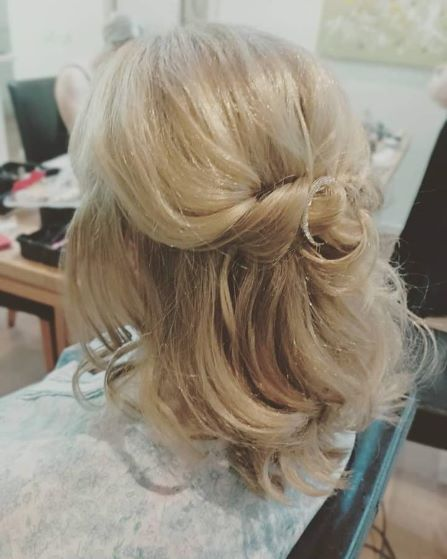 Girl with twisted knot half up