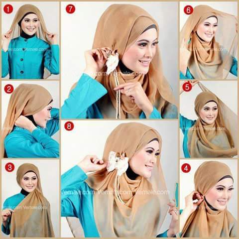 Girl with Easy layer hijab and a bow Step-by-step