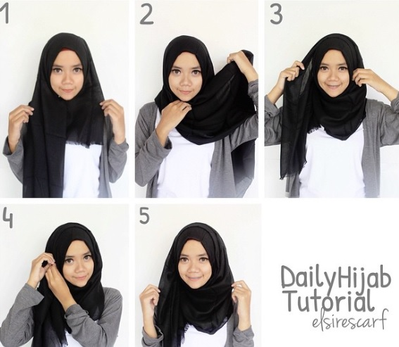 girl with step by step hijab for school