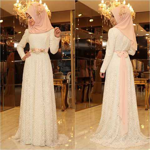 pink Stylish Latest Fashion Hijab  Outfit with a bow at back