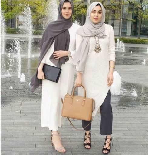girls with latest fashion hijab with outfit