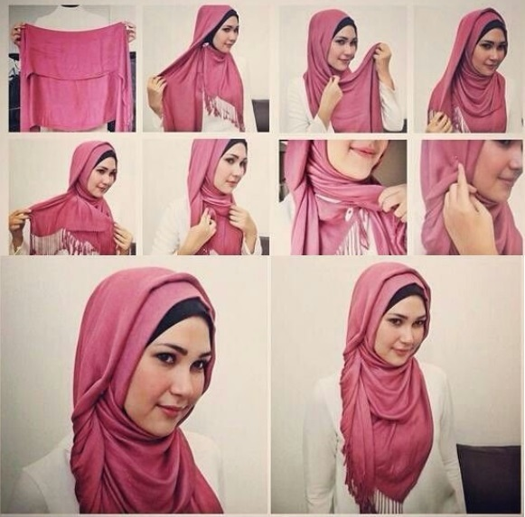 girl with pink Layer dupatta hijab style step by step