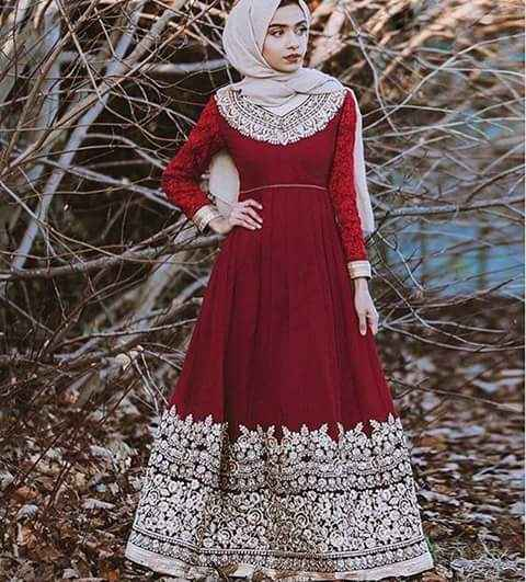 red formal Latest Fashion Hijab with Outfit