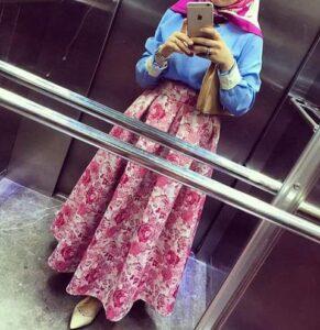 pink matching hijab with maxi dress