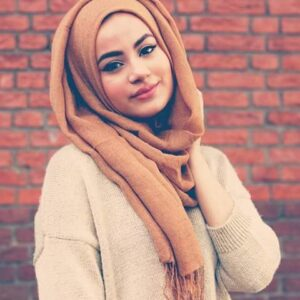 A Girl with nude color school hijab