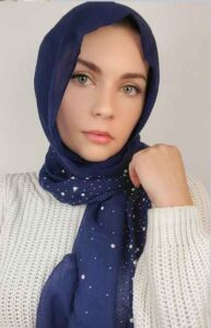 a girl with blue Peral hijab